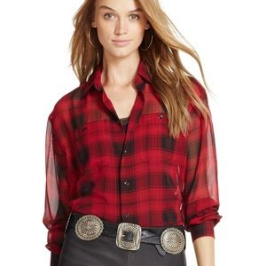 Polo Ralph Lauren Silk Georgette Red Plaid Shirt
